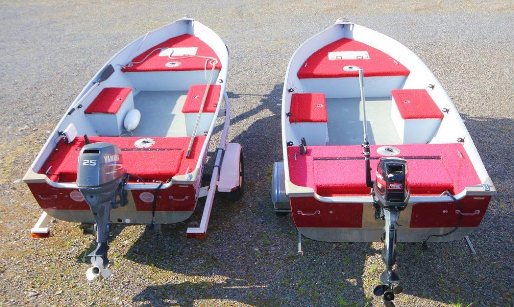 Les bateaux sont en aluminium du marque Lund Laker avec une longueur de 4,88m et un largeur de 2m.