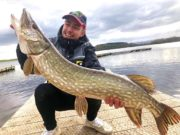 Adrien avec un beau brochet de 23 lb attrapé au leurre au Watermill Lodge sur le Lough Erne Co. Fermanagh