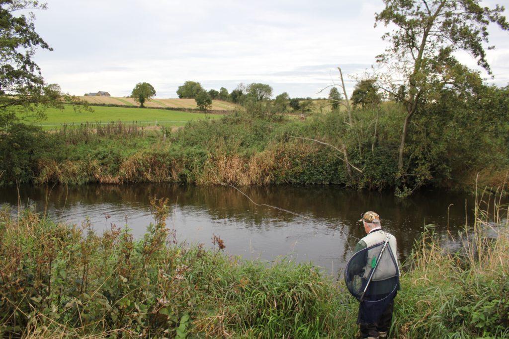 Un pêcheur du saumon à la mouche sur la rivière Fane