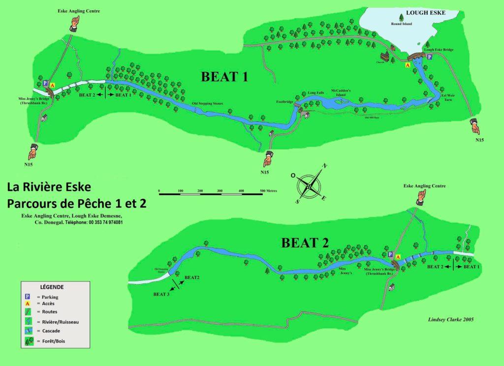Carte d'Eske Parcours 1 et 2