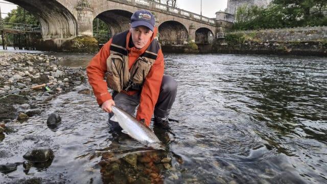 Le remis à l'eau d'un saumon sur le Corrib à Galway
